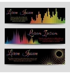 Soundwaves horizontal banners vector image