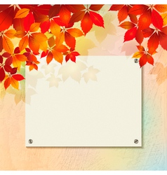 Autumn background with plastered wall billboard vector image vector image