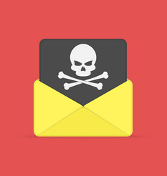 envelope and document with skull vector image vector image