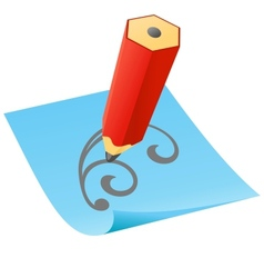 Pencil with paper page vector image vector image
