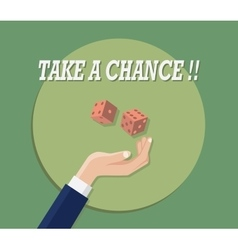 take a chance with hand play dice green background vector image vector image