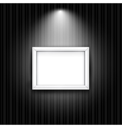 White photo frame on black striped wall background vector image