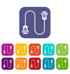 cable wire computer icons set vector image vector image