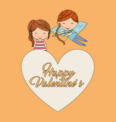 happy valentines cupid and girl together on big vector image