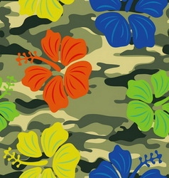 Hibiscus on the military background pattern vector
