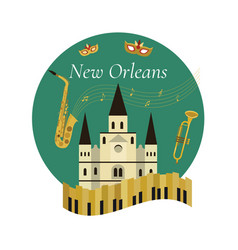 Welcome to new orleans poster with famous symbols vector