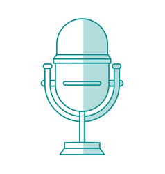 Blue shading silhouette of studio microphone vector