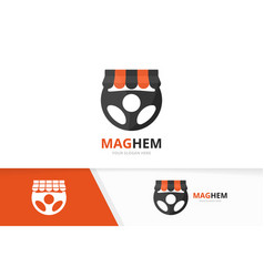 car helm and shop logo combination vector image