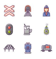 railway steward icons set flat style vector image