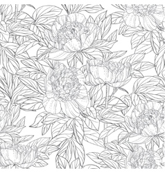 Seamless pattern of flowers peonies black and vector image