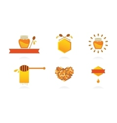 Set of honey labels icons and design elements vector image