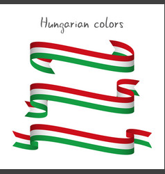 set of three ribbons with the hungarian tricolor vector image vector image