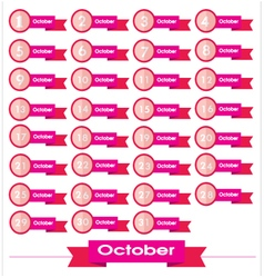 signs number for October vector image vector image