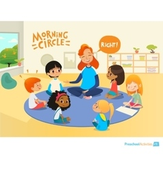 Teacher asks children questions and encourage them vector image vector image
