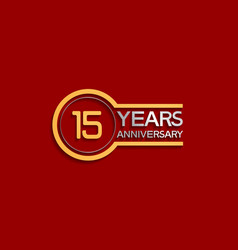 15 years anniversary golden and silver color vector
