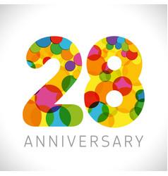 28 years anniversary circle colorful logo vector