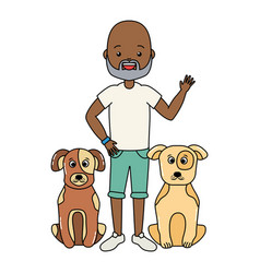african american man and pets vector image