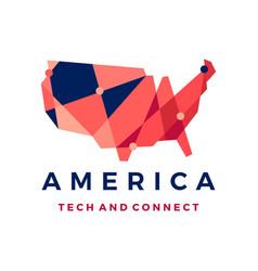 america tech connection logo icon vector image