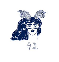 Aries zodiac sign with beautiful girl vector