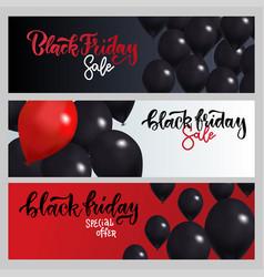 black friday sale horizontal banners set flying vector image