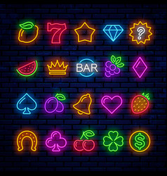bright neon icons for casino slot machine vector image