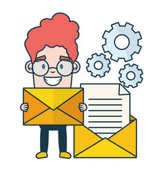 Businessman with envelope email gears send vector