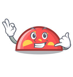 call me semicircle mascot cartoon style vector image
