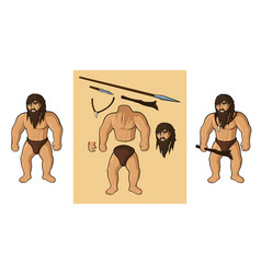Cartoon caveman body parts vector