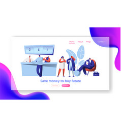 Cheerful bank employee and client reception desk vector