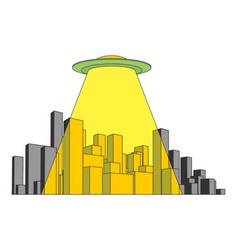 city and ufo abstract skyline and space invader vector image