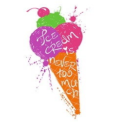 Colorful silhouette of ice cream cone vector