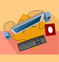 computer equipment on colored background vector image