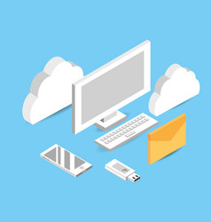 computer with cloud data service connect vector image