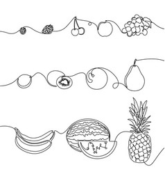 continuous one line set fruits design elements vector image