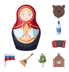 country russia travel cartoon icons in set vector image