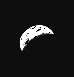 Crescent moon white galaxy doodle sticker vector