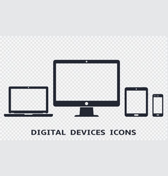 Device icons set - smartphone tablet laptop and vector