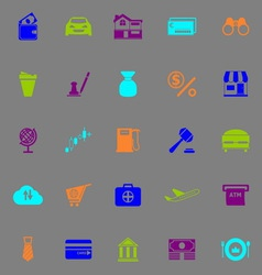 E wallet icons fluorescent color on gray vector