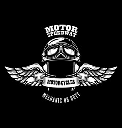 Emblem template with winged motorcycle racer vector