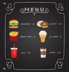 fast food menu on chalkboard vector image