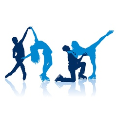 Figure skaters silhouettes vector image vector image