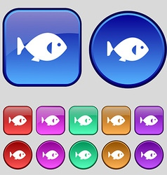fish icon sign A set of twelve vintage buttons for vector image