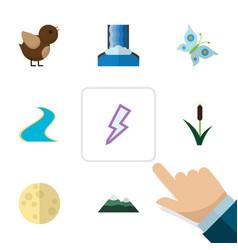 flat icon bio set of lightning bird peak and vector image