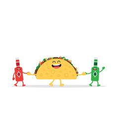 Funny taco mexican food vector