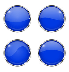 glass blue buttons round 3d buttons with chrome vector image