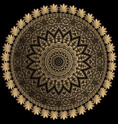 Gold line art floral greek mandala pattern floral vector