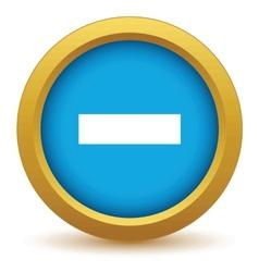 Gold minus icon vector image