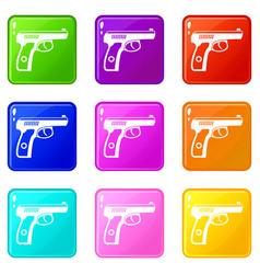 gun icons 9 set vector image