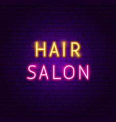 hair salon neon text vector image