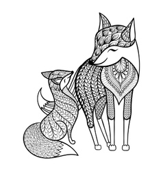 Hand drawn Fox with young child pattern for adult vector
